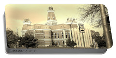 Bartholomew County Courthouse Columbus Indiana - Sepia Portable Battery Charger by Scott D Van Osdol