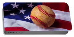 Baseball And American Flag Portable Battery Charger