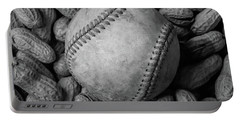 Portable Battery Charger featuring the photograph Baseball And Peanuts Black And White Square  by Terry DeLuco