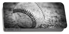 Baseball In Black And White Portable Battery Charger