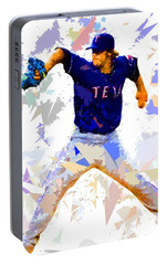 Portable Battery Charger featuring the painting Baseball Pitch by Movie Poster Prints