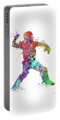 Baseball Softball Catcher 3 Watercolor Print Portable Battery Charger