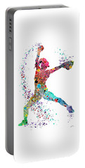 Baseball Softball Pitcher Watercolor Print Portable Battery Charger