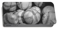 Baseballs In Black And White Portable Battery Charger