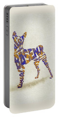 Portable Battery Charger featuring the painting Basenji Dog Watercolor Painting / Typographic Art by Inspirowl Design