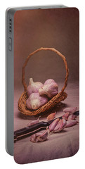 Basket Of Garlic Still Life Portable Battery Charger