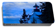 Bass Harbor Lighthouse Blue #2 Portable Battery Charger