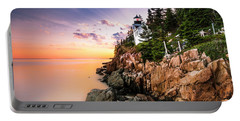 Portable Battery Charger featuring the photograph Bass Harbor Lighthouse Sunset by Ranjay Mitra
