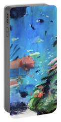 Portable Battery Charger featuring the painting Bass Pro Outdoor World by Ed Heaton