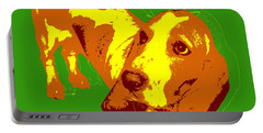 Portable Battery Charger featuring the digital art Basset Hound Pop Art by Jean luc Comperat