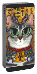 Portable Battery Charger featuring the painting Bast Goddess - Egyptian Bastet by Carrie Hawks