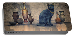 Bastet And Pottery Portable Battery Charger by Jutta Maria Pusl