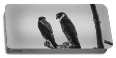 Bat Falcon In Black And White Portable Battery Charger