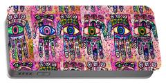 Batik Hamsa Pink Portable Battery Charger by Sandra Silberzweig
