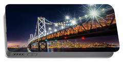 Bay Bridge And San Francisco By Night 5 Portable Battery Charger