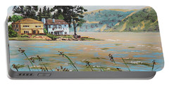 Bay Scenery With Houses Portable Battery Charger