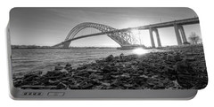 Bayonne Bridge Black And White Portable Battery Charger by Michael Ver Sprill