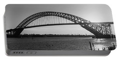 Bayonne Bridge Panorama Bw Portable Battery Charger by Michael Ver Sprill