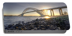 Bayonne Bridge Sunset Portable Battery Charger by Michael Ver Sprill