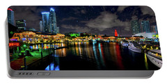 Bayside Miami Florida At Night Under The Stars Portable Battery Charger by Justin Kelefas