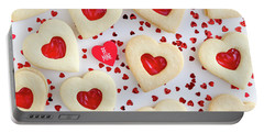Portable Battery Charger featuring the photograph Be Mine Heart Cookies by Teri Virbickis