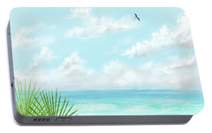 Portable Battery Charger featuring the digital art Beach And Palms by Darren Cannell