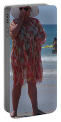 Portable Battery Charger featuring the painting Beach Beauty by Esther Newman-Cohen