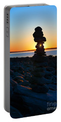 Beach Cairn At Sunrise Portable Battery Charger