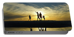 Beach Dancing At Sunset Portable Battery Charger