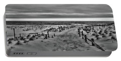 Portable Battery Charger featuring the photograph Beach Entry In Black And White by Paul Ward