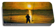 Portable Battery Charger featuring the photograph Beach Fishing  by Scott Carruthers