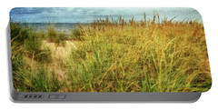 Portable Battery Charger featuring the digital art Beach Grass Path - Painterly by Michelle Calkins