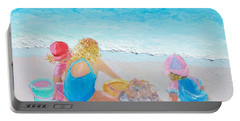Beach Painting - Building Sandcastles Portable Battery Charger