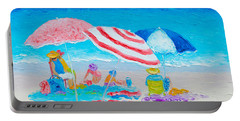 Beach Painting - Summer Beach Vacation Portable Battery Charger