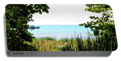 Portable Battery Charger featuring the photograph Beach Path With Snake Grass by Michelle Calkins