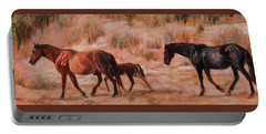 Beach Ponies - Wild Horses In The Dunes Portable Battery Charger
