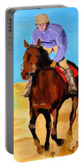 Portable Battery Charger featuring the painting Beach Rider by Rodney Campbell