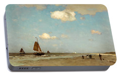 Portable Battery Charger featuring the painting Beach Scene by Jan Hendrik Weissenbruch