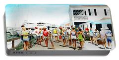 Beach/shore II Boardwalk Beaufort Dock - Original Fine Art Painting Portable Battery Charger