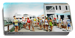 Beach/shore II Boardwalk Beaufort Dock - Original Fine Art Painting Portable Battery Charger