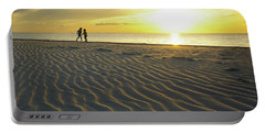 Beach Silhouettes And Sand Ripples At Sunset Portable Battery Charger