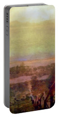 Portable Battery Charger featuring the digital art Beach Stairs With Hazy Sky by Michelle Calkins