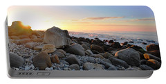 Beach Sunrise Over Rocks Portable Battery Charger