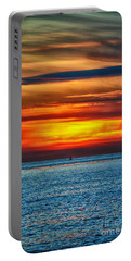 Portable Battery Charger featuring the photograph Beach Sunset And Boat by Mariola Bitner