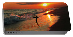 Beach Sunset And Cross Portable Battery Charger by Luana K Perez