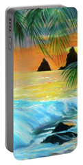 Portable Battery Charger featuring the painting Beach Sunset by Jenny Lee