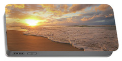 Beach Sunset With Golden Clouds Portable Battery Charger