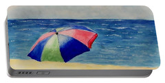 Portable Battery Charger featuring the painting Beach Umbrella by Jamie Frier