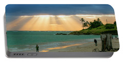 Beach Walk At Sunrise Portable Battery Charger