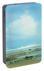 Portable Battery Charger featuring the photograph Beach Walk Painted by Mary Jo Allen
